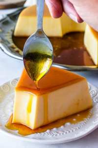 no-bake flan with caramel on top