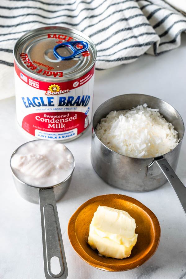 ingredients to make coconut fudge