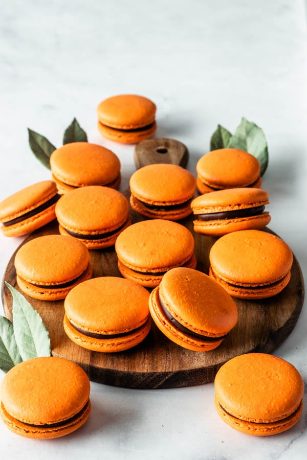 Orange Macarons filled with chocolate ganache and orange marmalade