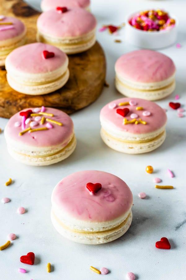 Raspberry White Chocolate Macarons
