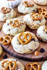 Pretzel Chocolate Chip Cookies topped with pretzel