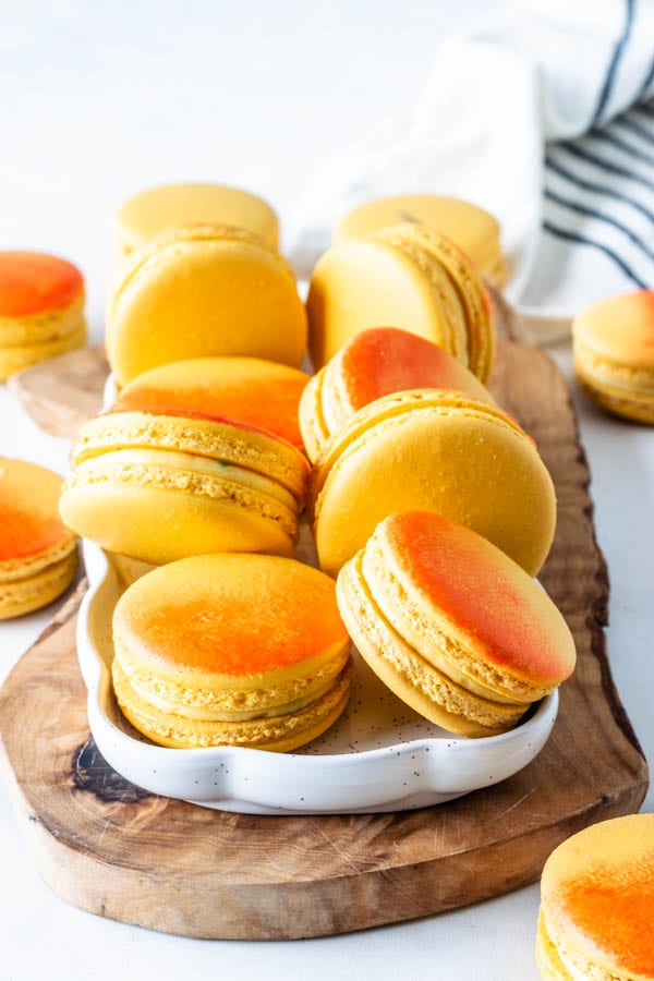 Mango Macarons air brushed with orange food coloring