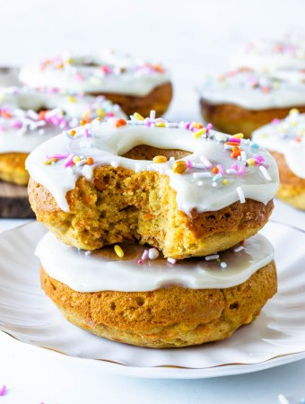 Baked Carrot Cake Donuts with condensed milk glaze