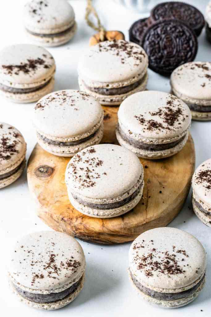 Cookies and cream macarons with white chocolate ganache