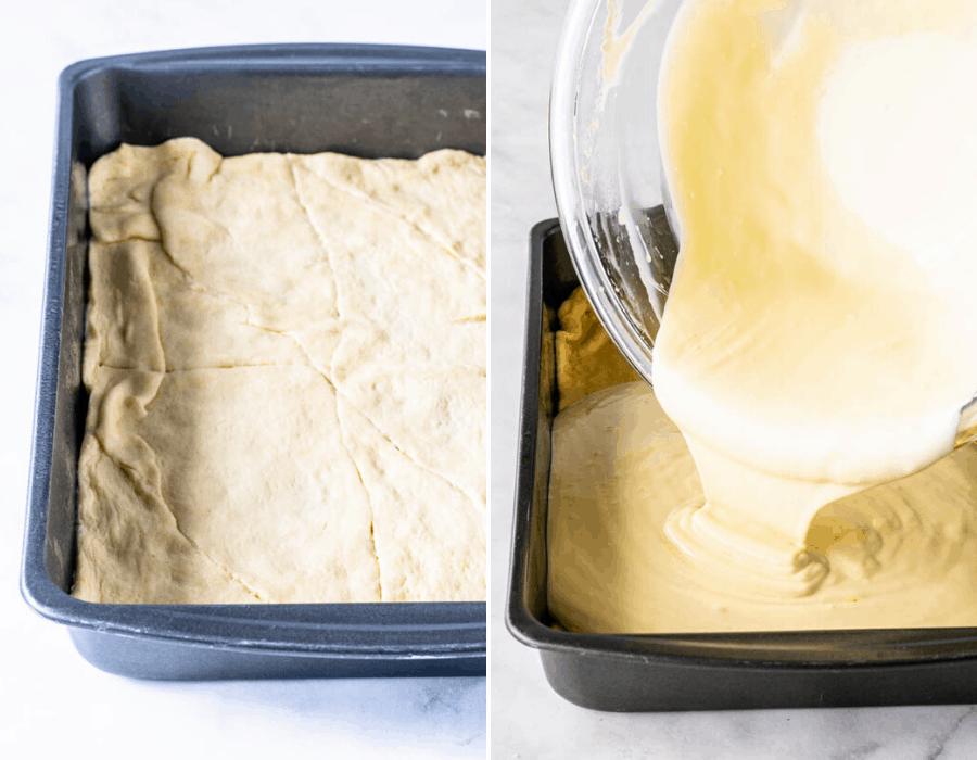 making sopapilla cheesecake bars