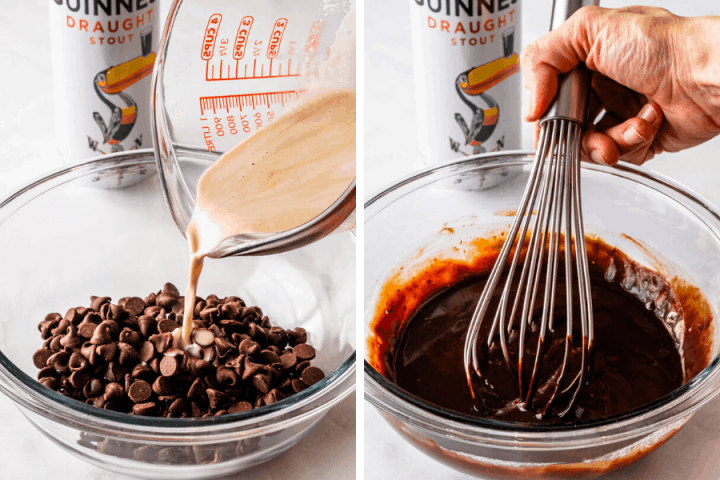 Making Guinness Ganache whisking chocolate with heavy cream and guinness beer