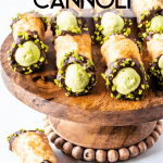 Pistachio Cannoli shells coated in chocolate and with pistachio filling