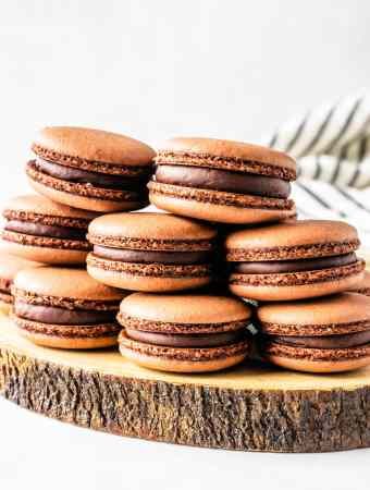 Vegan Chocolate Macarons filled with chocolate ganache