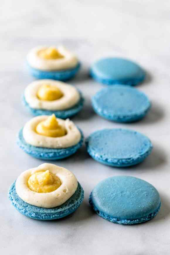 blue macaron shells filled with vanilla bean pastry cream and vanilla bean buttercream