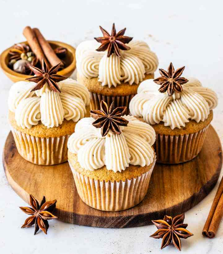 Vanilla Bean Chai cupcakes topped with anise