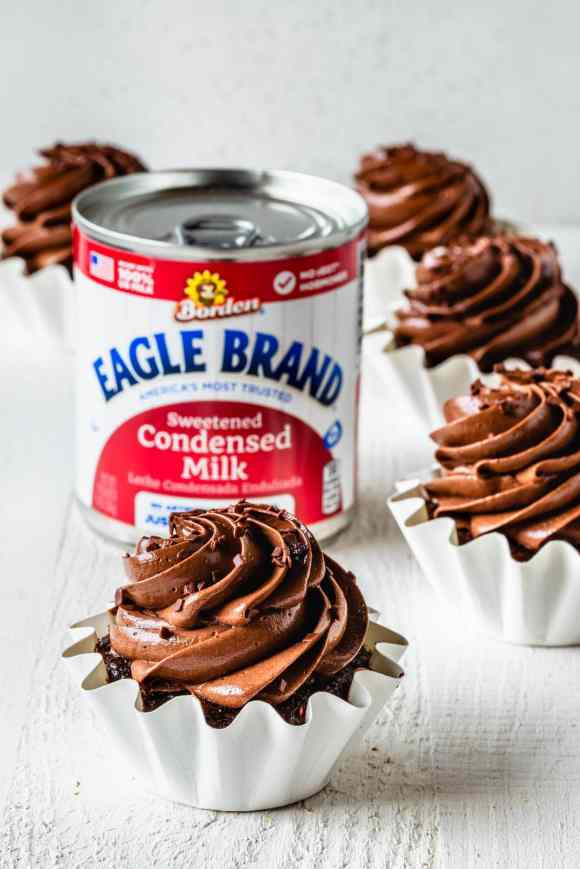 Chocolate Cupcakes with Condensed Milk and a can of condensed milk