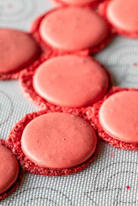 macarons with feet that spread outwards.