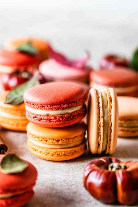 macarons stacked, with a macaron on the side, a pumpkin in the front.