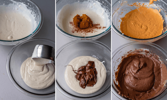 three pictures showing how to make a marble cheesecake batter for pumpkin chocolate cheesecake.