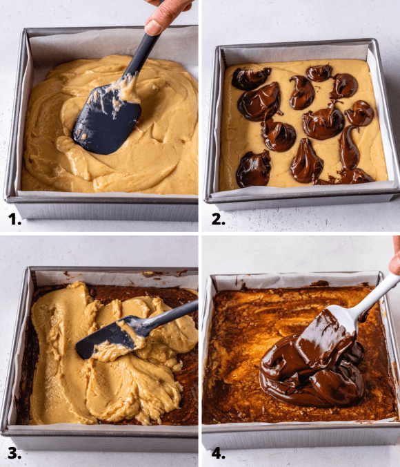 4 pictures showing the assembly of peanut butter tiger fudge.