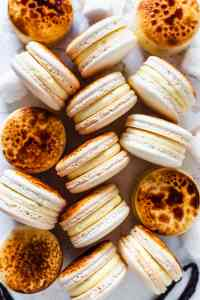 Creme Brûlée Macarons with a caramelized top.