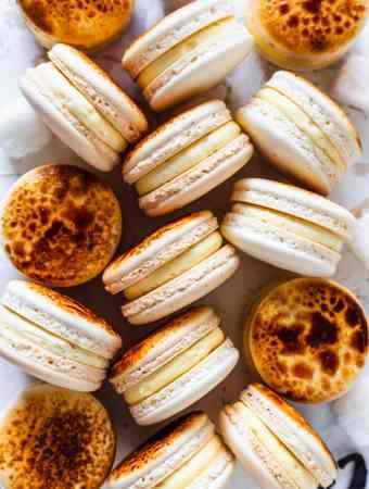 Creme Brûlée Macarons with a caramelized top.