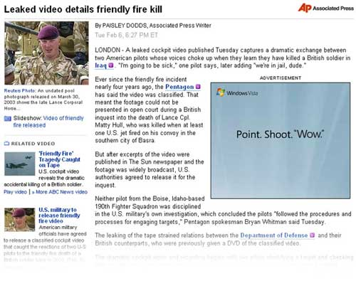 Leaked video details friendly fire kill versus Windows Vista: Point. Shoot. Wow.