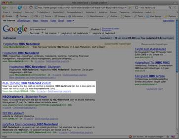 Google resultaten voor HBO Nederland