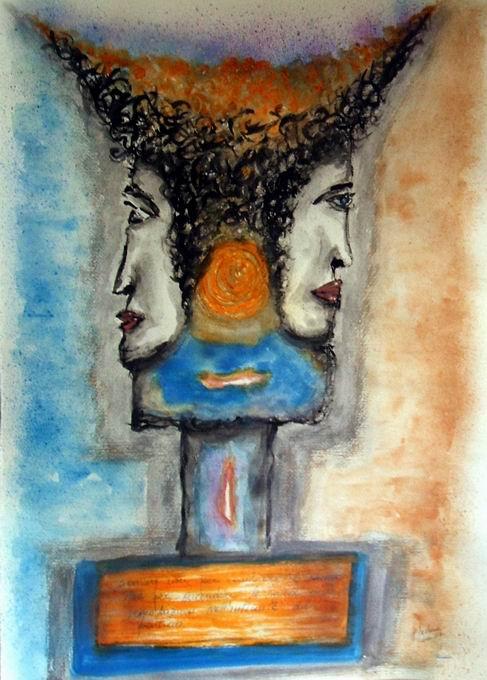 Giano bifronte - Acquerello di Pietro Barbera