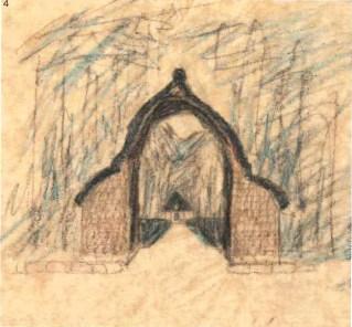 Prospettiva dell'arco di ingresso