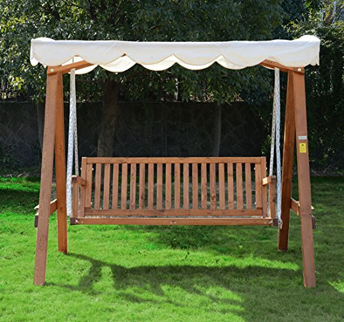 Outsunny 3 Seater Wooden Wood Garden Swing Chair Seat
