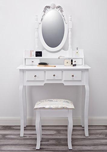 coiffeuse blanc meuble miroir