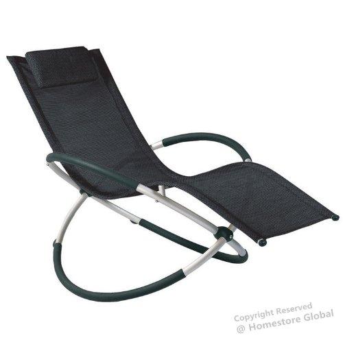 homestore global vacances cadeau chaise longue transat de jardin rocking chair avec coussin amovible tres confortable et relaxante noir