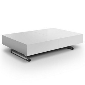 table basse relevable extensible blanche laquee smart