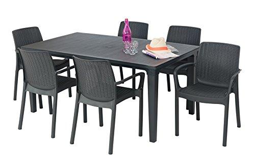 allibert salon de jardin table 6 fauteuils anthracite