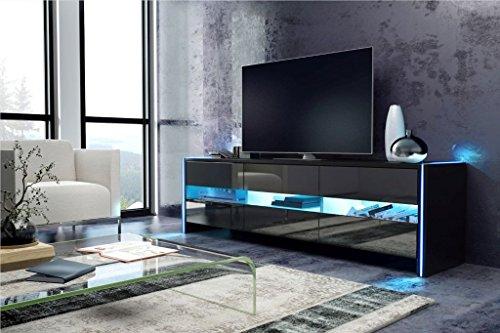 meuble tv bright avec led cabinet pour la tv noir fronts noir brillant