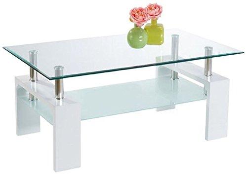 table basse rectangulaire en mdf avec un plateau en verre coloris blanc laque