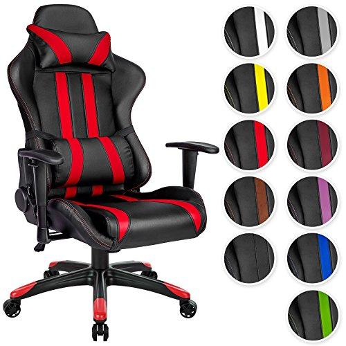 tectake chaise fauteuil siege de bureau racing sport ergonomique avec support lombaire et coussin diverses couleurs au choix noir rouge no 402030