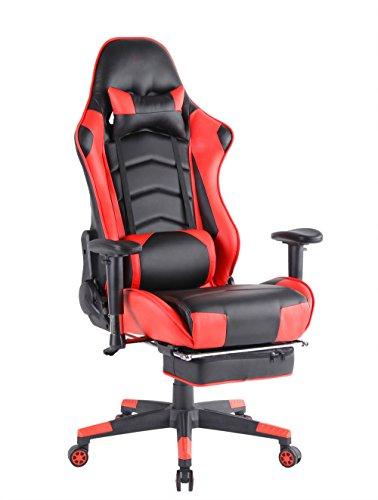 top gamer ergonomique gaming pivotant ordinateur chaise de bureau a dossier haut avec repose pieds reglant