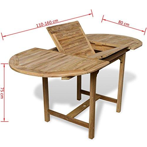 vidaxl table de salle manger dextrieur extensible en