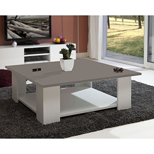 lime table basse carree blanc plateau taupe