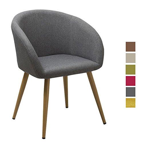chaise salle a manger en tissu lin gris design retro chaise scandinave avec pieds en metal effet bois dh0020