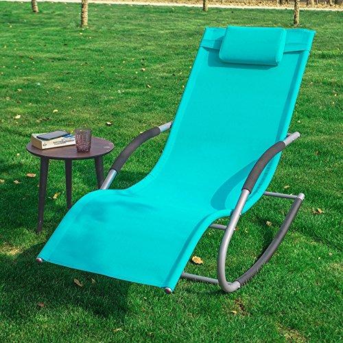 sobuy ogs28 hb fauteuil a bascule chaise longue transat de jardin avec repose pieds bain de soleil rocking chair turquoise