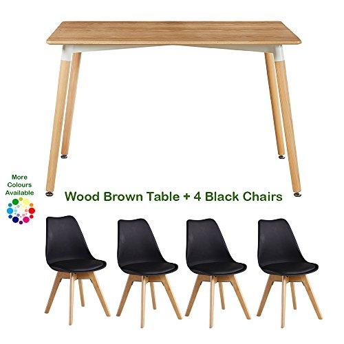 table et 4 chaises p n homewares modele lorenzo style scandinave retro et moderne table en bois marron pour la salle a manger