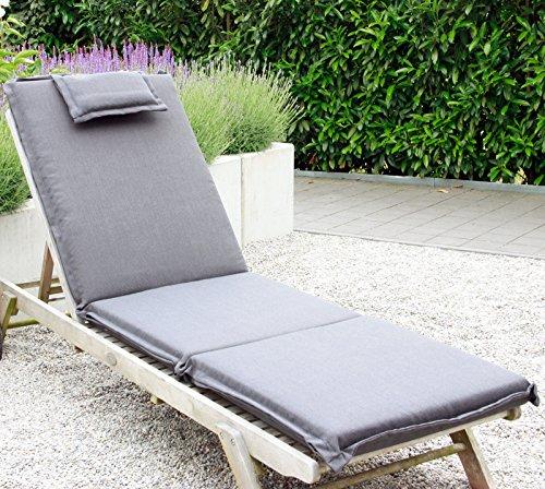 xxl coussin pour bain de soleil chaise longue de jardin avec oreiller fermeture eclair housse amovible lavable anthracite