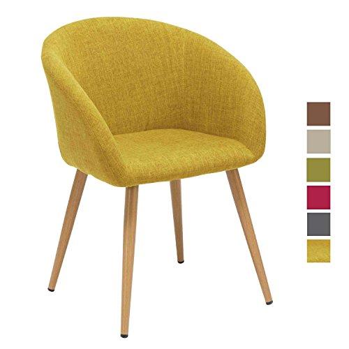 duhome elegant lifestyle chaise salle a manger en tissu lin couleur jaune selection de couleur design retro chaise scandinave avec pieds en metal
