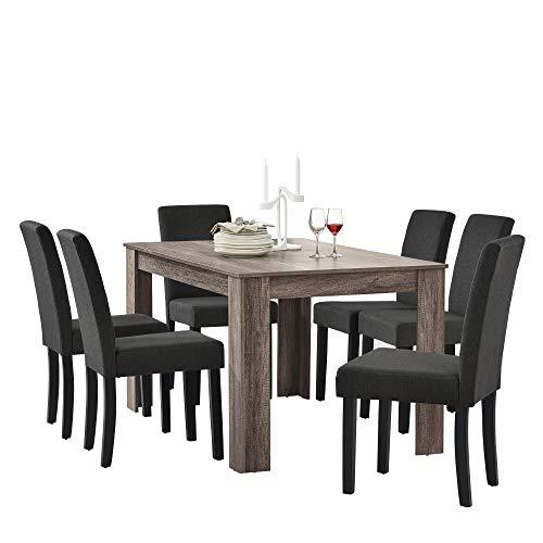 encasa en casa table de salle a manger 6 chaise de salle a manger en gris fonce 140x90cm