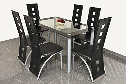 ensemble de table de salle a manger en verre moderne noir ou blanc avec 4 6 chaises en simili cuir neuves
