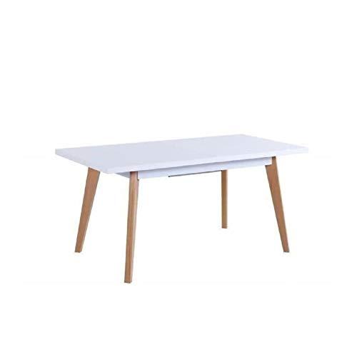 sacha table a manger extensible 4 a 6 personnes 160 190 80 cm laque blanc et beige