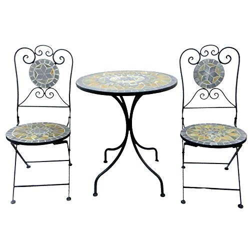 ensemble de balcon 3 pieces en metal et mosaique avec table de jardin ronde de 60 cm de diametre et chaises de jardin