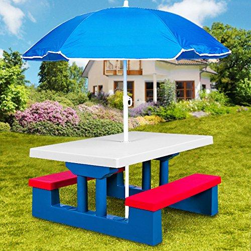 ensemble de jardin pour enfants table et bancs avec parasol salon de balcon exterieur