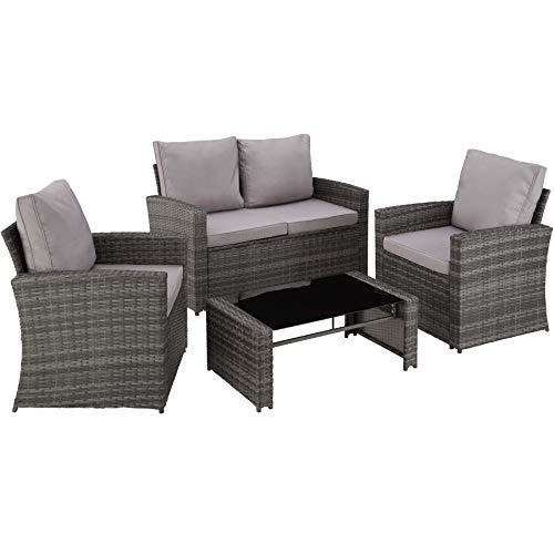 tectake 800679 salon de jardin en resine tressee 4 personnes 1 canape 2 fauteuils 1 table avec plateau en verre coussins d assise et de dossier