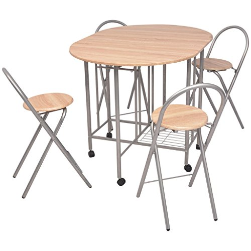 vidaxl ensemble de salle a manger pliable table et chaises 5 pieces mdf