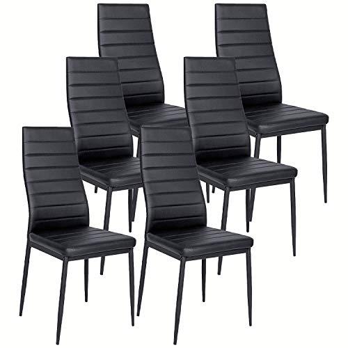 lovemyhouse lot de 4 6 chaises de salle a manger cuisine siege rembourre haut dossier confortable similicuir blanc noir pour salle a manger