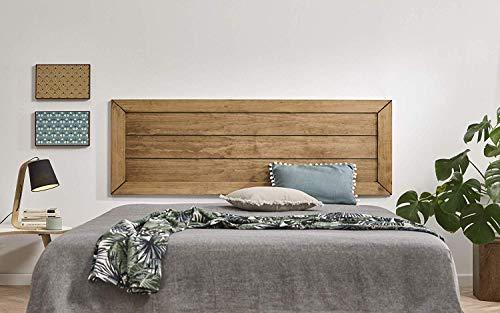 hogar24 es cloe 155 tete de lit en bois massif naturel finition ciree dimensions 155 x 60 x 2 cm